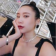 저렴한 -여성용 계층화 된 목걸이 모조 다이아몬드 사치 실버 30 cm 목걸이 보석류 2pcs 제품 결혼식 약혼 클럽