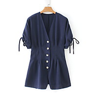 cheap -Women's Street chic Navy Blue Romper, Solid Colored S M L