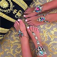זול -בגדי ריקוד נשים סנדלי רגליים יחפות יהלום מדומה ארופאי תכשיט לקרסול תכשיטים שחור / כסף / כחול עבור יומי