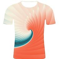 billige -T-skjorte Herre - 3D / Regnbue / Grafisk, Trykt mønster Gatemote / overdrevet Rosa XXL
