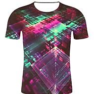 billige -T-skjorte Herre - 3D / Regnbue / Grafisk, Trykt mønster Rock / overdrevet Vin XXL