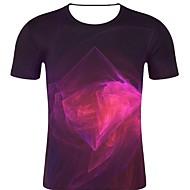 billige -T-skjorte Herre - 3D / Regnbue / Grafisk, Trykt mønster Rock / overdrevet Fuksia XXL