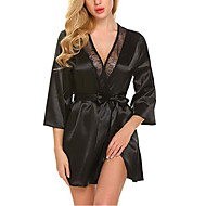 cheap -Women's Satin & Silk / Suits Nightwear - Lace / Bow Solid Colored