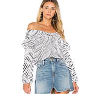 billige -Dame - Prikker Skjorte Hvid L