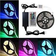 billige -5 m Fleksible LED-lysstriber 300 lysdioder SMD5050 1 44Køler fjernbetjening / 1 x 5A strømadapter RGB Fest / Selvklæbende 12 V 1set