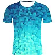 billige -T-skjorte Herre - 3D / Regnbue / Grafisk, Trykt mønster Gatemote / overdrevet Blå XXL