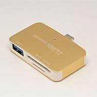 お買い得  -Unestech DSZD5115-T699C USB 3.0タイプC to USB 3.0 / SDカードサポート USBハブ 3 ポート ハイスピード / カードリーダー付き(S) / OTG