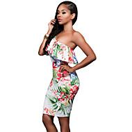 abordables -Mujer Básico Elegante Línea A Corte Bodycon Vaina Vestido - Volante Estampado, Geométrico Hasta la Rodilla