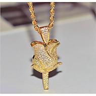 levne -Dámské Kubický zirkon Náhrdelníky s přívěšky Kytky Módní Měď Zlatá Bílá 45+5 cm Náhrdelníky Šperky 1ks Pro Dar Denní