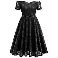 رخيصةأون -فستان نسائي متموج عتيق طباعة طول الركبة ورد