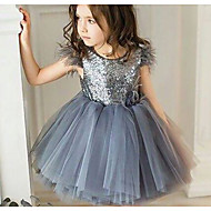 cheap -Baby Girls' Basic Solid Colored Sequins Short Sleeve Dress Gray