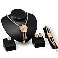 voordelige -Dames Cut Out Sieraden set Verguld Bloem, Kostbaar Stijlvol, Uniek ontwerp omvatten Druppel oorbellen Choker kettingen Armband Ring Goud Voor Feest Feestdagen