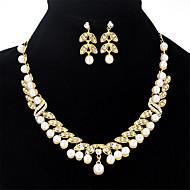 tanie -Damskie Biżuteria Ustaw Sztuczna perła Kształt listka Luksusowy, Europejskie, Moda, Elegancja Zawierać Naszyjniki Kolczyki Złoty Na Impreza Zaręczynowy Prezent Codzienny