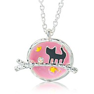 levne -Dámské Náhrdelníky s přívěšky Kočka Cute Style Lolita Chrome Černá Růžová 55 cm Náhrdelníky Šperky 1ks Pro Denní Práce Festival