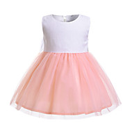 cheap -Baby Girls' Active / Basic Color Block Mesh / Lace up Sleeveless Dress White