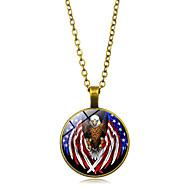 levne -Dámské Náhrdelníky s přívěšky americká vlajka Eagle Vlajka Evropský Moderní Casual / Sportovní Sklo Chrome Zlatá Černá Stříbrná 45+5 cm Náhrdelníky Šperky 1ks Pro Dar Denní Festival