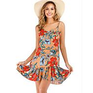abordables -Mujer Boho Recto Vestido - Estampado, Floral Sobre la rodilla