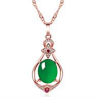 levne -Dámské Smaragd Náhrdelníky s přívěšky Klasika Radost Módní Měď Růžové zlato 45+5 cm Náhrdelníky Šperky 1ks Pro Dar Denní