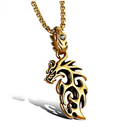 cheap -Men's Cubic Zirconia Pendant Necklace Geometrical Dragon Fashion Titanium Steel Gold White 55 cm Necklace Jewelry 1pc For Daily Holiday