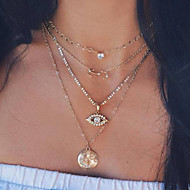 cheap -Women's Necklace Layered Necklace Evil Eye Chrome Gold 44.2 cm Necklace Jewelry 1pc For Daily School Street Holiday Festival