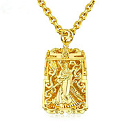 cheap -Men's Pendant Necklace Geometrical Buddha Fashion Zircon Gold Plated Gold 61 cm Necklace Jewelry 1pc For Gift Daily