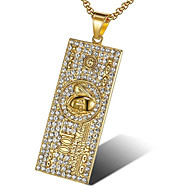 cheap -Men's White Cubic Zirconia Pendant Necklace Geometrical Hope Fashion Titanium Steel Gold White 56 cm Necklace Jewelry 1pc For Gift Daily