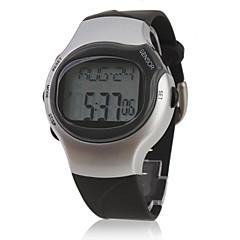 Męskie Sportowy Cyfrowe LCD Pulsometr Kalendarz Chronograf alarm Pasmo Czarny Silver