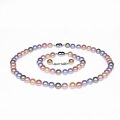 abordables Collares de perlas-Perla Conjunto de joyas - Plata Incluir Rosa / Gris Claro / Arco iris Para Boda / Fiesta / Aniversario / Anillos / Pedida / Regalo / Collare