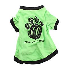 お買い得  犬用ウェア&アクセサリー-犬 Tシャツ 犬用ウェア 文字&番号 グリーン コットン コスチューム ペット用 男性用 女性用 カジュアル/普段着
