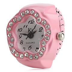 preiswerte Tolle Angebote auf Uhren-Damen Quartz Ringuhr Japanisch Imitation Diamant Legierung Band Blume Schwarz / Weiß / Rosa