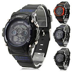 お買い得  メンズ腕時計-男性用 多機能腕時計 スポーツウォッチ 軍用腕時計 アラーム カレンダー クロノグラフ付き ラバー バンド ブラック オレンジ ブルー / LCD