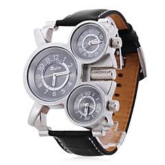 お買い得  大特価腕時計-Oulm 男性用 軍用腕時計 リストウォッチ クォーツ 日本産クォーツ 3タイムゾーン レザー バンド ブラック