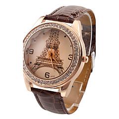 お買い得  レディース腕時計-女性用 リストウォッチ 模造ダイヤモンド PU バンド カジュアル / エッフェル塔 / ファッション ブラック / 白 / レッド / 1年間 / Jinli 377