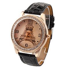 preiswerte Damenuhren-Damen Quartz Armbanduhr Imitation Diamant PU Band Freizeit Eiffelturm Modisch Schwarz Weiß Rot Braun Rose