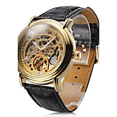 お買い得  メンズ腕時計-WINNER 男性用 リストウォッチ / 機械式時計 透かし加工 PU バンド ブラック / 自動巻き