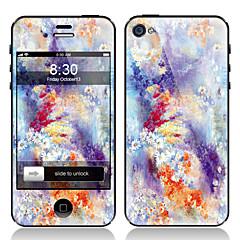 Patrón de flores frente y parte posterior Protectores de pantalla para el iPhone 4/4S