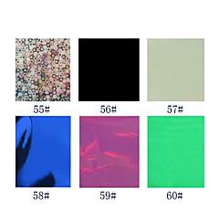 1PCS Laser Foil Nail Decorations Starry Nail Stickers No.55-60(130x4.5x0.1cm,Assorted Colors)