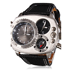Oulm Heren Militair horloge Polshorloge Kwarts Dubbele tijdzones PU Band Luxueus Zwart