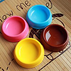 お買い得  猫ケア用品、グルーミング-犬猫のための円形のプラスチックペットフードボウル(分類された色、サイズ)