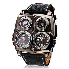 お買い得  メンズ腕時計-男性用 軍用腕時計 クォーツ 日本産クォーツ 温度計付き コンパス 2タイムゾーン PU バンド ハンズ チャーム ブラック / ステンレス