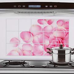 75x45cm Pink Rose Pattern Oil-Απόδειξη νερού-απόδειξη Hot-Proof αυτοκόλλητο τοίχου κουζίνας