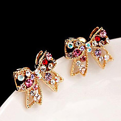 Kadın's Vidali Küpeler Aşk sevimli Stil lüks mücevher kostüm takısı Yapay Elmas alaşım Bowknot Shape Mücevher Uyumluluk Parti Günlük