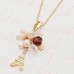 Női Nyaklánc medálok Bowknot Shape Torony Hamis gyémánt Ötvözet Divat luxus ékszer Személyre szabott jelmez ékszerek Ékszerek