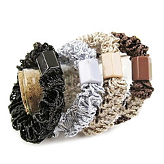 Classic Monivärinen Lace Kangas Hair Ties For Women (musta, Kahki And More)