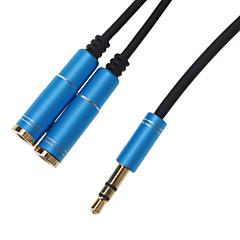 hesapli Kablolar ve Adaptörler-2 Kadın Splitter Kablo Blue (0.3M) için 3.5mm kulaklık Erkek