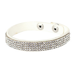 cheap Tennis Bracelets-Four Row Crystal Leather Tennis Bracelet Fashion Jewelry Elegant Gifts