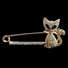 billige Brocher-Høj kvalitet Crystal Cat Broche