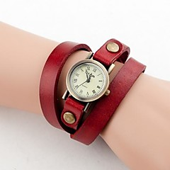 preiswerte Tolle Angebote auf Uhren-Frauen-Weinlese-Kleinmess Lange Strap-Leder-Band-Armbanduhr Quarz Analog (verschiedene Farben)