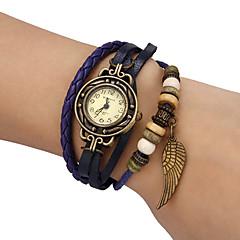 여성용 패션 시계 팔찌 시계 석영 PU 밴드 빈티지 보헤미안 블랙 블루 레드 오렌지 그린