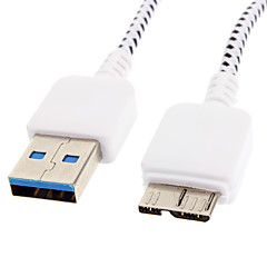 USB 3.0 to Micro USB 3.0 M/M Cable Net-Plated White for Samsung Note 3(1M)